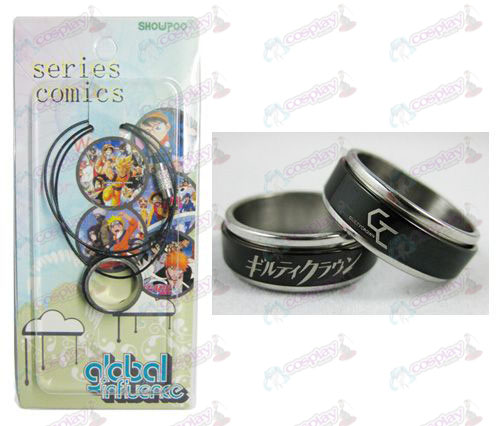 Guilty Crown Zubehör Black Steel Ring Halskette Transporter - Rope