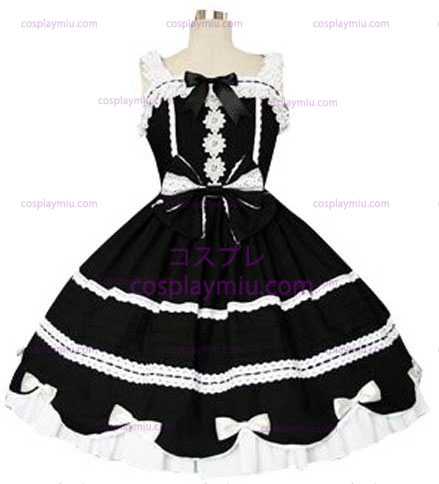 Black And White Gothic Lolita Cosplay Kleid