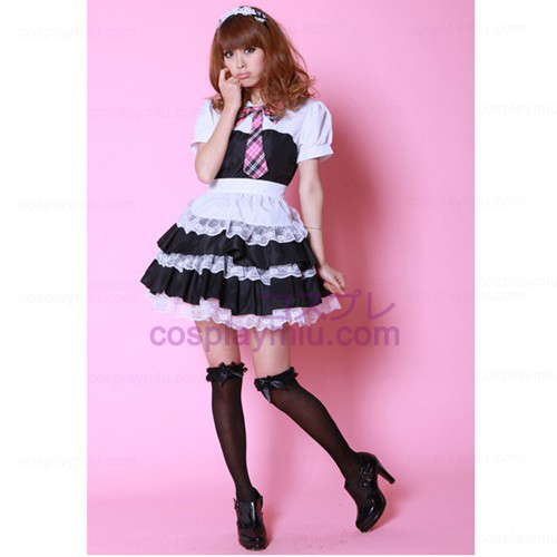 Black and White Bowknot Short Sleeve Cosplay Maid Kostümes