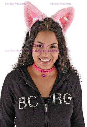 Cat Ears & Collar Set Rosa