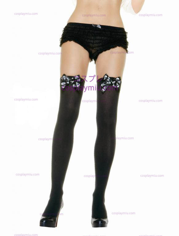 Skull Print Bow Thigh Highs