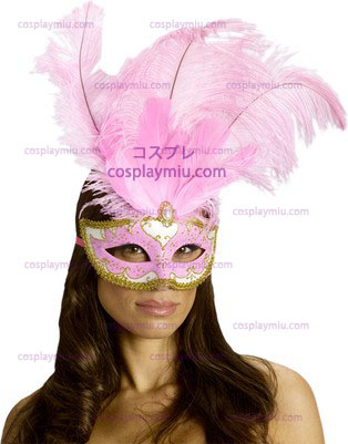Carnival Mask Big Feather Rosa