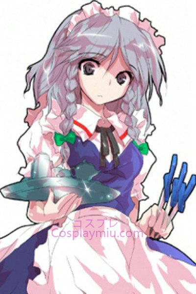Touhou Project Izayoi Sakuya Light Purple Short Mit langen Zopf Perücke